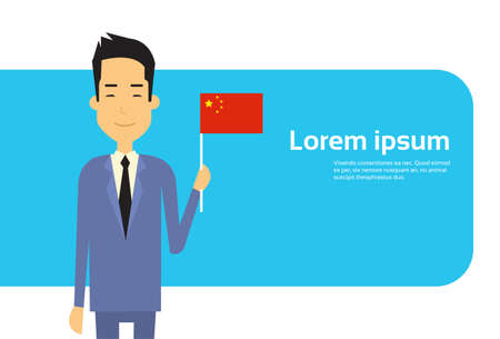 asian business: Asian Business Man Hold Japan Flag Japanese Businessman Banner With Copy Space Flat Vector Illustration