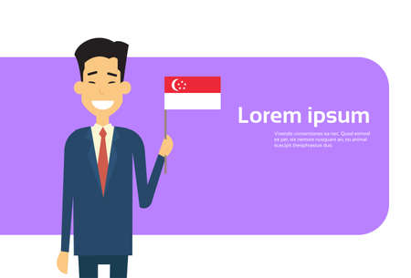 asian business man: Asian Business Man Hold Singaporean Flag Singapore Businessman Banner With Copy Space Flat Vector Illustration