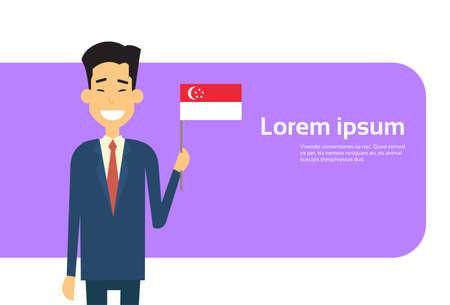 singaporean flag: Asian Business Man Hold Singaporean Flag Singapore Businessman Banner With Copy Space Flat Vector Illustration
