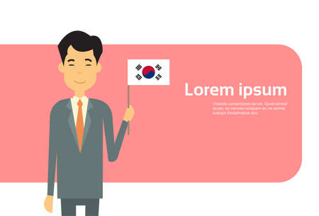 south asian: Asian Business Man Hold Korea Flag South Korean Businessman Banner With Copy Space Flat Vector Illustration Illustration