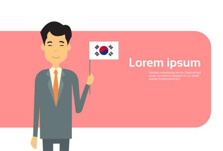 asian business man: Asian Business Man Hold Korea Flag South Korean Businessman Banner With Copy Space Flat Vector Illustration Illustration