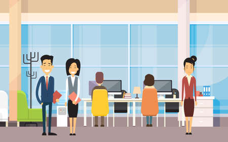 asian business people: Asian Business People In Modern Office Work On Computer Flat Vector Illustration
