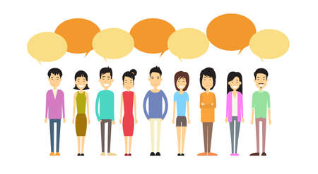 Asian People Group Casual Crowd With Chat Bubble Social Network Communication Concept Flat Vector Illustration
