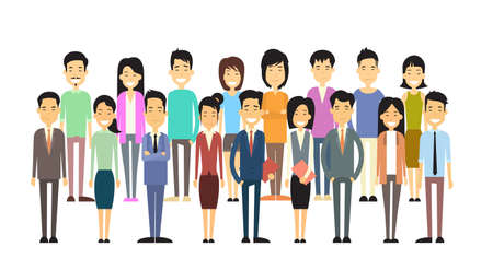 asian business: Asian Business Casual People Group Flat Vector Illustration