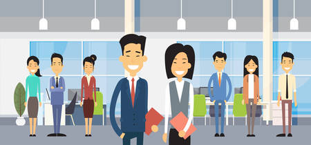 colleagues: Asian Business People Group In Modern Office Flat Vector Illustration Illustration