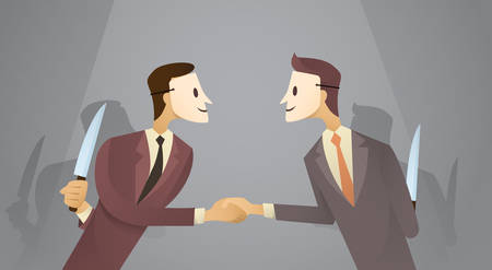 betray: Two Business Man In Mask Shake Hands Hold Knife, Danger Betray Agreement Concept Flat Vector Illustration