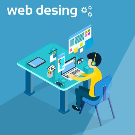 Business Man, travail, ordinateur portable, ordinateur, concepteur, concepteur, concepteur, photographe, espace de travail, bureau, 3d, isométrique, vecteur, illustration
