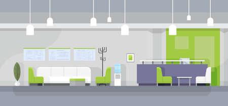 Modern Office Waiting Room Interior Flat Design Vector Illustration
