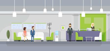 business reception: Business People On Sofa, Secretary Reception Wait MeetingModern Office Interior Flat Vector Illustration