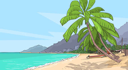 seascape: Sea Shore Sand Beach Summer Vacation Tropical Seascape Palm Tree Vector Illustration Illustration