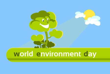green environment: Green Cartoon Smiling Tree World Environment Day Banner Flat Vector Illustration