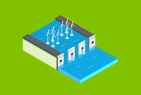 electric station: Water Dam Electric Station Wind Turbine Tower  Recycle Technology Top View 3d Isometric Vector Illustration