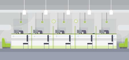 finance department: Modern Bank Office Cashier Interior Workplace Desk Flat Design Vector Illustration Illustration