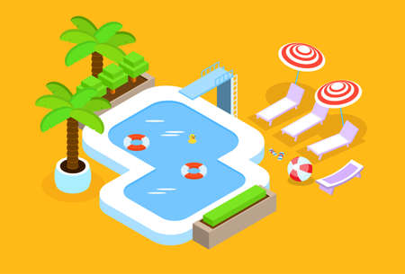 3d swimming pool: Swimming Pool Hotel Summer Vacation 3d Isometric Design Vector Illustration
