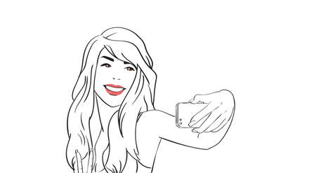 smart girl: Sketch Girl Take Selfie Photo On Cell Smart Phone Vector Illustration