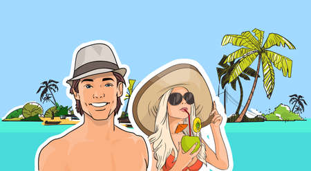 tropical beach panoramic: Couple On Beach Man Woman In Hat, Girl Sunglasses Drink Cocktail Sea Shore Tropical Summer Vacation Vector Illustration Illustration