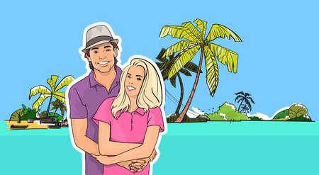 Couple Embrace, Man Woman On Beach Sea Shore Tropical Summer Vacation Vector Illustration Illustration