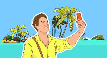 shore: Young Man Take Selfie Photo Beach Sea Shore On Cell Smart Phone Tropical Summer Vacation Vector Illustration Illustration