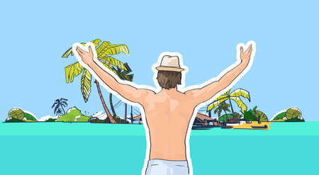 man rear view: Happy Man In Hat Swimwear On Beach Sea Shore Hands Up Rear View Tropical Summer Vacation Vector Illustration