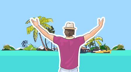 shore: Happy Man In Hat On Beach Sea Shore Hands Up Rear View Tropical Summer Vacation Vector Illustration Illustration