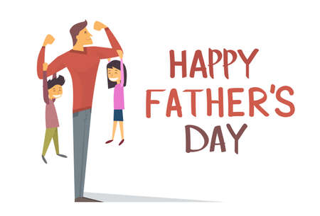 Happy Father Day Holiday, Sterke Papa Zoon Dochter Hang Op Wapens Vector Illustratie