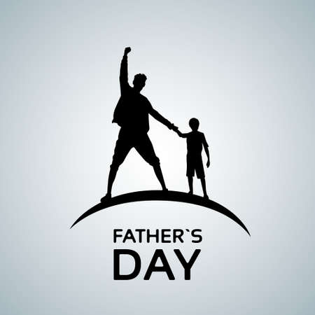 hold hands: Father Day Holiday, Silhouette Son Dad Hold Hands Up Flat Vector Illustration Illustration