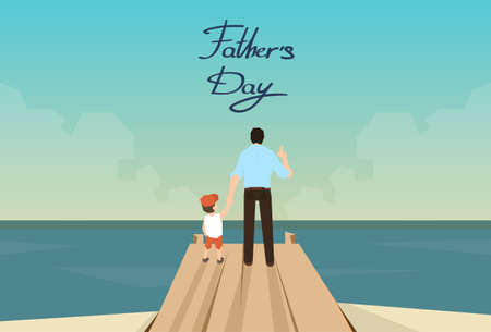 ocean view: Man And Son Father Day Holiday Standing on Wooden Dock Looking Ocean Horizon Rear View Vector Illustration