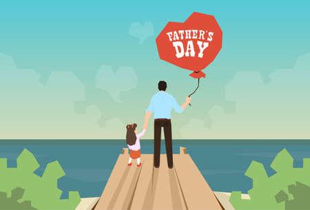 Hombre e hija Hold globo Padre Día de fiesta que se coloca en la ilustración de madera muelle que mira horizonte del océano Vista posterior del vector
