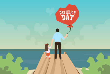 ocean view: Man And Daughter Hold Balloon Father Day Holiday Standing on Wooden Dock Looking Ocean Horizon Rear View Vector Illustration