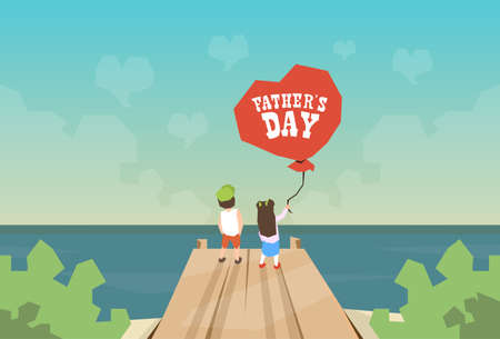 rear view girl: Two Children Son And Daughter Hold Balloon Father Day Holiday Small Boy and Girl Standing on Wooden Dock Looking Ocean Horizon Rear View Vector Illustration