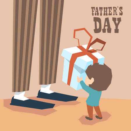daddy long legs: Small Boy Give Present Box Adult Man Long Legs Father Day Holiday Vector Illustration Illustration