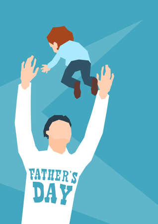 throw up: Man Throw Son Up In Air Father Day Holiday Flat Vector Illustration