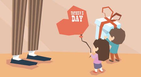 box love: Small Boy Girl Give Present Balloon Adult Man Long Legs Father Day Holiday Vector Illustration