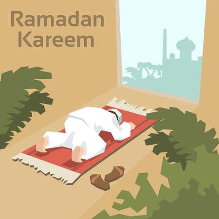 muslim pray: Muslim Man Pray On Carpet Ramadan Kareem Mosque Religion Holy Month Vector Illustration