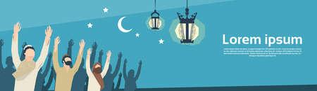 muslim pray: Muslim Man Group Pray Ramadan Kareem Religion Holy Month Vector Illustration