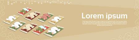 eastern spirituality: Muslim Man Group Pray on Carpet Ramadan Kareem Religion Holy Month Vector Illustration Illustration