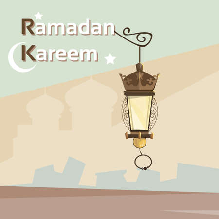 eastern spirituality: Ramadan Kareem Lantern Mosque Background Muslim Religion Holy Month Vector Illustration Illustration