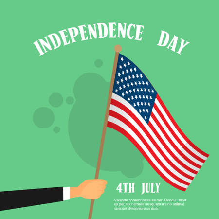federal election: Hand Hold United States Flag Independence Day Banner Vector Illustration