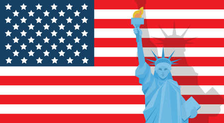 liberty statue: Liberty Statue Over United States Flag Independence Day Holiday Banner Vector Illustration