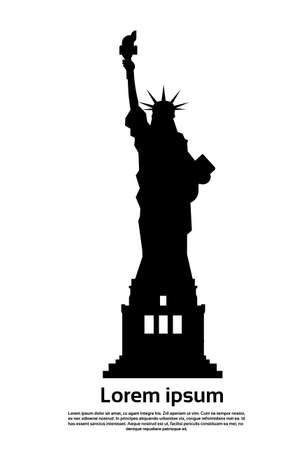 Liberty Statue Silhouette United States Symbol Vector Illustration Çizim