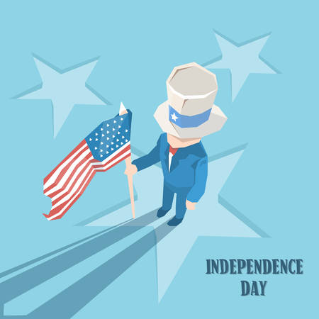 sam: Uncle Sam Cylinder Hat Hold United States Flag Happy Independence Day American Holiday Vector Illustration