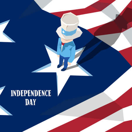 sam: Uncle Sam Cylinder Hat United States Flag Happy Independence Day American Holiday Vector Illustration