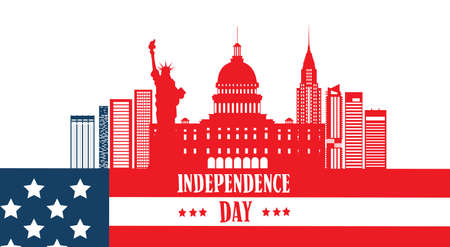 american history: Happy Independence Day United States American Famous Building Symbol Vector Illustration