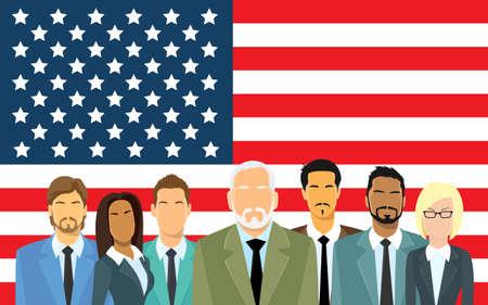 business group: Senior Businessmen Group of Business People Team Over United States American Flag Flat Vector Illustration Illustration
