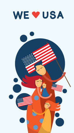 embrace: Family Embrace United States Of America Independence Day Vector Illustration Illustration