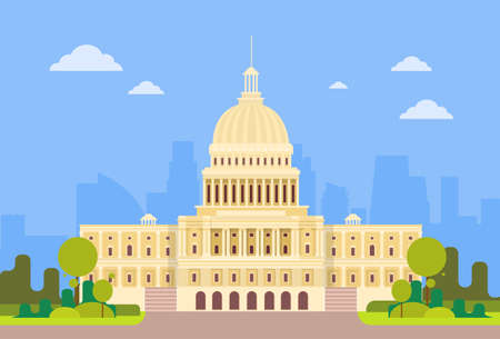 state election: Capitol Building United States Of America Senate House Washington Vector Illustration