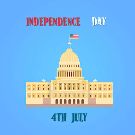 senate: Capitol Building United States Of America Senate House Independence Day Banner Vector Illustration