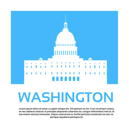 isolated on white: Capitol Building United States Of America Senate House Washington Vector Illustration