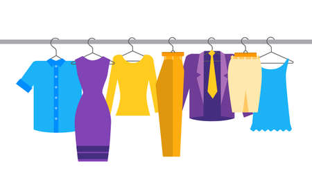 show room: Clothes Official Business Collection Show Room Shop Flat Vector Illustration