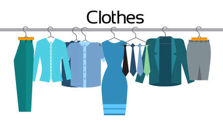 official wear: Clothes Official Business Collection Show Room Shop Flat Vector Illustration